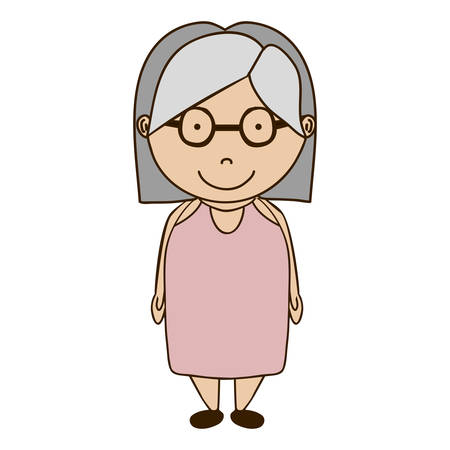 gray hair: cartoon old woman smiling over white background. vector illustration