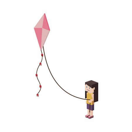 paper kites: pixel girl flying a colorful kite with bowties over white background. vector illustration