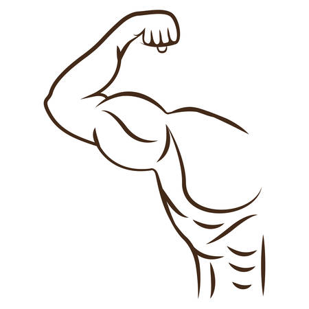 silhouette of Man arm bodybuilding muscles. isolated flat icon with black and white colors. vector illustration