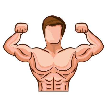 cartoon Man bodybuilding muscles over white background. isolated flat vector illustration