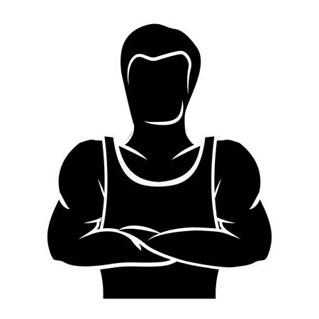 Man bodybuilding muscles. isolated flat icon with black and white colors. vector illustration
