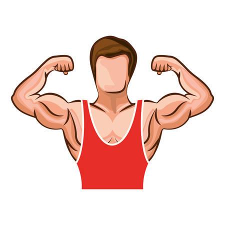 Muscoli del corpo del muscolo del fumetto su priorità bassa bianca. Illustrazione vettoriale piatto isolato Archivio Fotografico - 65119001