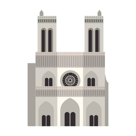 dame: notre dame cathedral icon over white background. paris city design. vector illustration