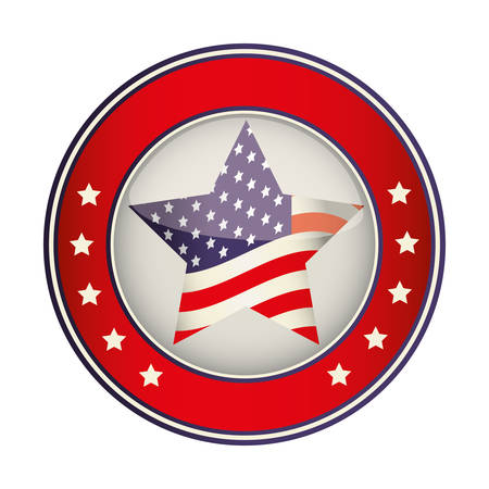 federation: button with usa flag in star shape icon over white background. colorful design. vector illustration Illustration