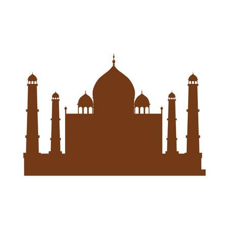 silueta del edificio icónico Taj Mahal la India sobre fondo blanco. ilustración vectorial