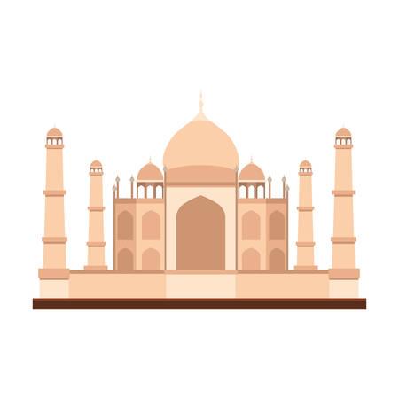 Taj Mahal edificio icónico india sobre fondo blanco. ilustración vectorial