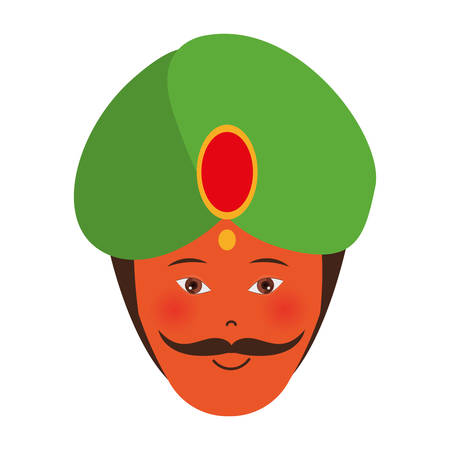 illustraiton: indian man smiling with culture traditional clothes icon over white background. vector illustraiton