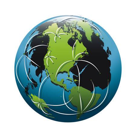 白い背景の上のネットワークの矢印の付いた地球惑星球アイコン。カラフルなデザイン。ベクトル図