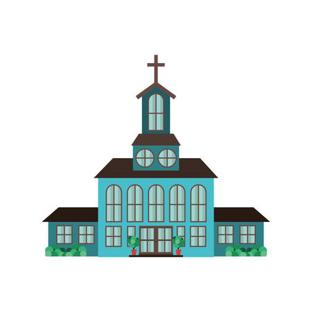 church building icon over white background. vector illustration Illustration