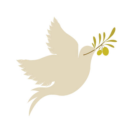 dove with olive green branch icon over white background. vector illustration Stock Illustratie