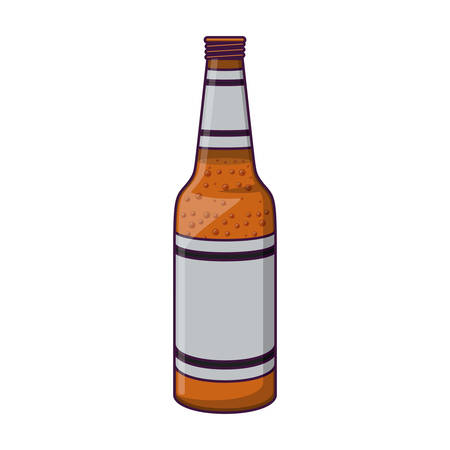 Beer bottle icon. Pub alcohol bar brewery and drink theme. Isolated design. Vector illustration