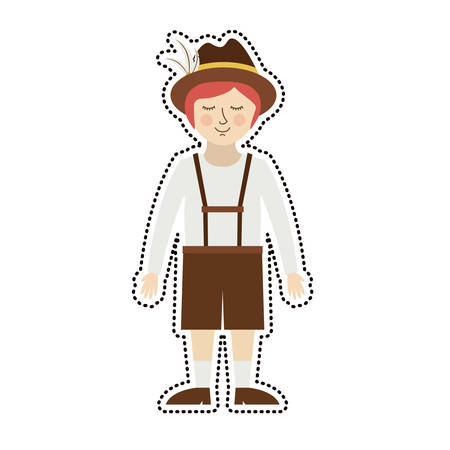 Man with traditional cloth icon. Oktoberfest germany culture festival and celebration theme. Isolated design. Vector illustration