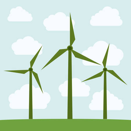 wind mill: Wind mill and clouds icon. Ecology renewable innovation and alternative theme. Vector illustration
