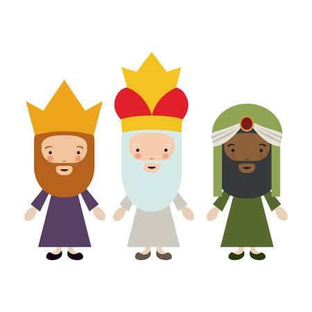 El icono de dibujos animados tres wisemen. Feliz día de la epifanía noche santa y el tema de Navidad. El diseño colorido. ilustración vectorial Ilustración de vector