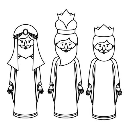 holy night: The three wisemen cartoons icon. Happy epiphany day holy night and christmas theme. Colorful design. Vector illustration
