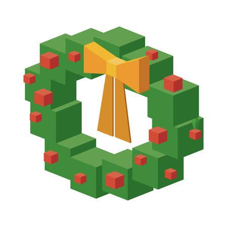 corona navidad: Icono isométrico de pino corona. decoración de la temporada de Navidad y tema de la celebración. diseño aislado. ilustración vectorial