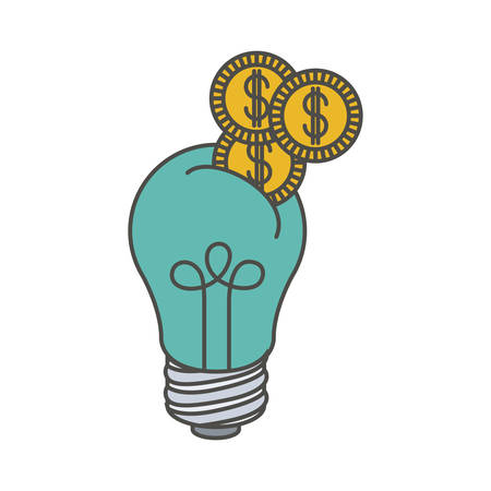 Bulb and coins icon. Investment ideas profit and start up theme. Isolated design. Vector illustration Illustration