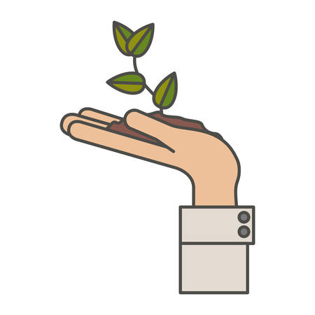 Plant over hand icon. Gardening nature green and home theme. Isolated design. Vector illustration
