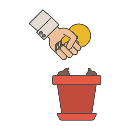 Light bulb and hand icon. Investment ideas profit and start up theme. Isolated design. Vector illustration Illustration