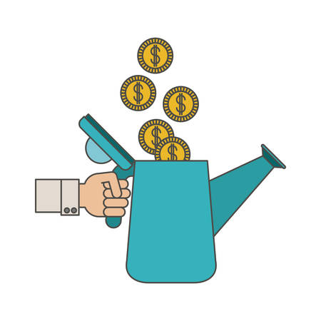 Watering can and coins con. Investment ideas profit and start up theme. Isolated design. Vector illustration Illustration