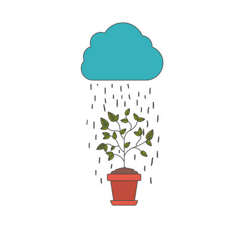 Plant rain and cloud icon. Gardening nature green and home theme. Isolated design. Vector illustration