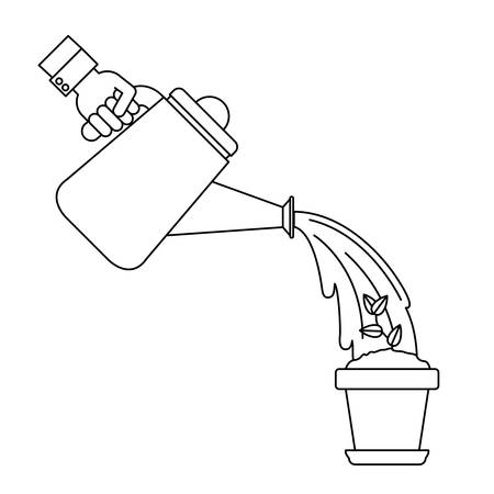 watering pot: Plant inside pot and watering can icon. Gardening nature green and home theme. Isolated design. Vector illustration