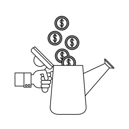Watering can and coins icon. Investment ideas profit and start up theme. Isolated design. Vector illustration