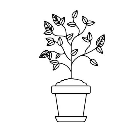 Plant inside pot icon. Gardening nature green and home theme. Isolated design. Vector illustration