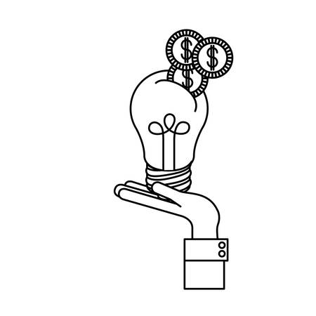 Light bulb and coins icon. Investment ideas profit and start up theme. Isolated design. Vector illustration Illustration