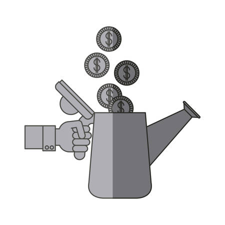 watering can and coins icon. Investment ideas profit and start up theme. Isolated design. Vector illustration Illustration