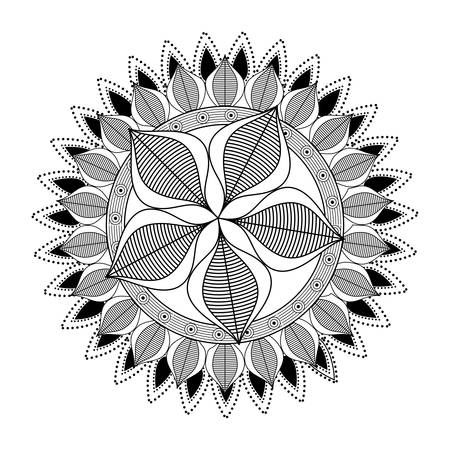 Mandale icon. Bohemic ornament indian and decoration theme. Black and white design. Vector illustration Illustration