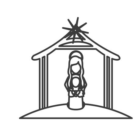 nativety: Mary and baby jesus cartoon icon. Holy night family christmas and betlehem theme. Isolated design. Vector illustration