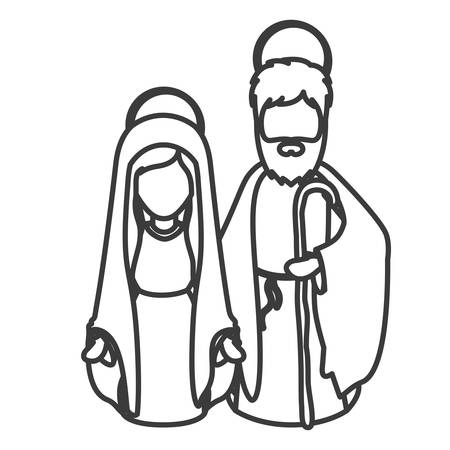 holy night: Mary and joseph cartoon icon. Holy night family christmas and betlehem theme. Isolated design. illustration Illustration