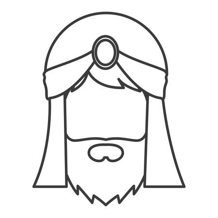 holy night: Wiseman cartoon icon. Happy epiphany day holy night and christmas theme. Isolated and silhouette design. Vector illustration