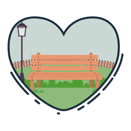 recreational: Park inside heart icon. Landscape outdoor season spring and summer theme. Vector illustration