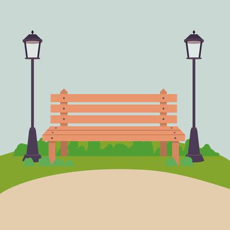 Garez avec lampe et banc icône. Paysage en plein air saison printemps et le thème de l'été. Vector illustration Vecteurs