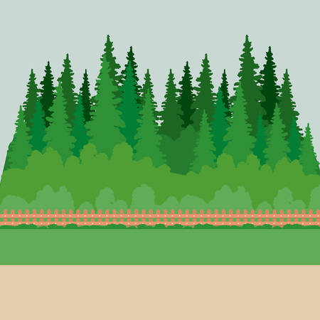 Park with pine trees icon. Landscape outdoor season spring and summer theme. Vector illustration