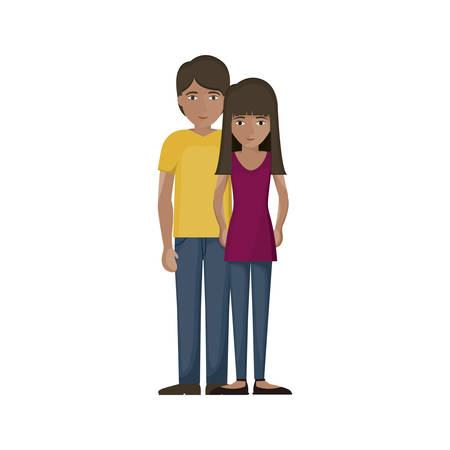 Woman and man cartoon icon. Couple relationship family love and romance theme. Isolated design. Vector illustration