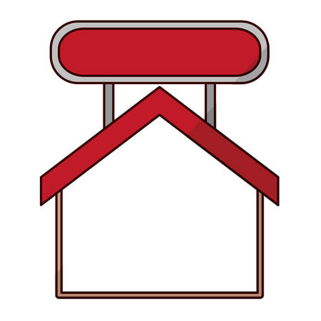 residential home: House with label icon. Home real estate building and residential theme. Isolated design. Vector illustration