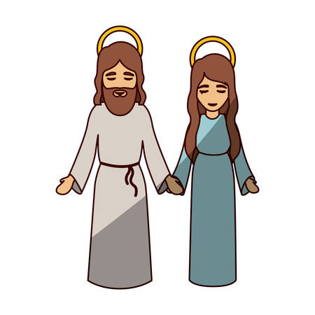Mary and jesus cartoon icon. Holy night family christmas and betlehem theme. Isolated design. Vector illustration Illustration