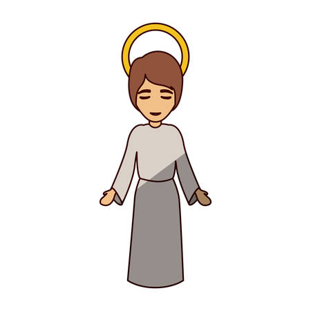 Jesus kid cartoon icon. Holy night family christmas and betlehem theme. Isolated design. Vector illustration