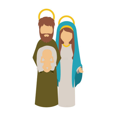 holy night: Mary joseph and baby jesus icon. Holy night family christmas and betlehem theme. Isolated design. Vector illustration Illustration