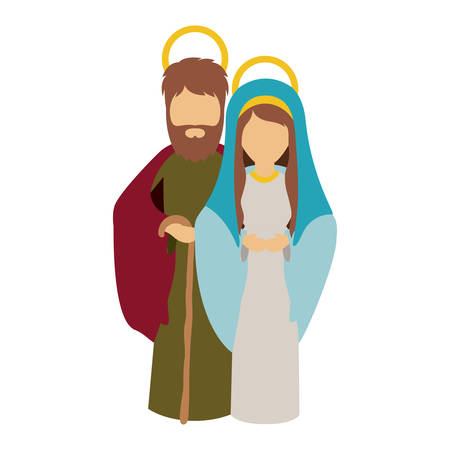 holy night: Mary and joseph cartoon icon. Holy night family christmas and betlehem theme. Isolated design. Vector illustration