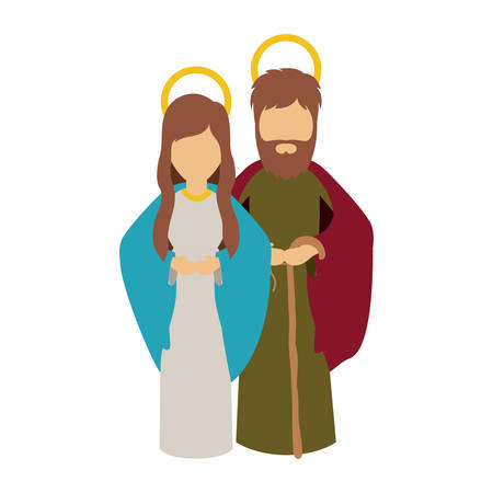 conception: Mary and joseph cartoon icon. Holy night family christmas and betlehem theme. Isolated design. Vector illustration