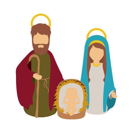 holy family: Mary joseph and baby jesus icon. Holy night family christmas and betlehem theme. Isolated design. Vector illustration Illustration