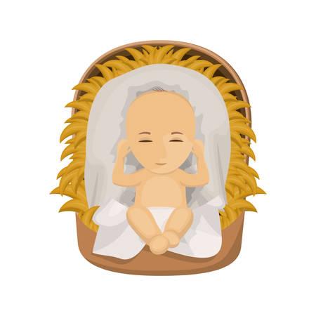 nativety: Jesus baby cartoon icon. Holy night family christmas and betlehem theme. Isolated design. Vector illustration
