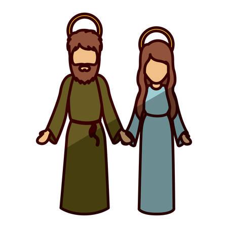 holy night: Mary and joseph cartoon icon. Holy night family christmas and betlehem theme. Isolated design. Vector illustration