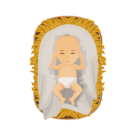holy night: Jesus baby cartoon icon. Holy night family christmas and betlehem theme. Isolated design. Vector illustration