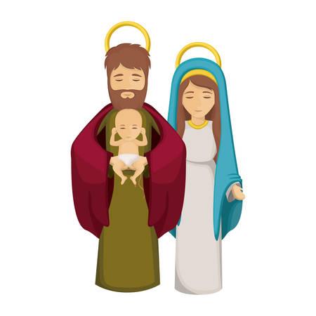 nativety: Mary joseph and baby jesus icon. Holy night family christmas and betlehem theme. Isolated design. Vector illustration Illustration