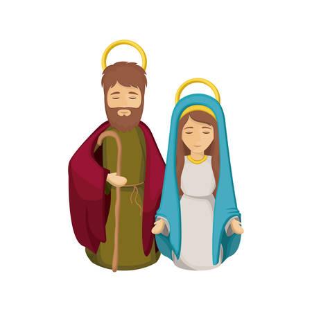 nativety: Mary and joseph cartoon icon. Holy night family christmas and betlehem theme. Isolated design. Vector illustration